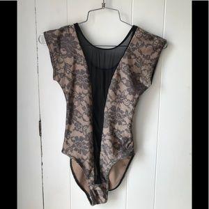 American Apparel nude lace mesh bodysuit XS